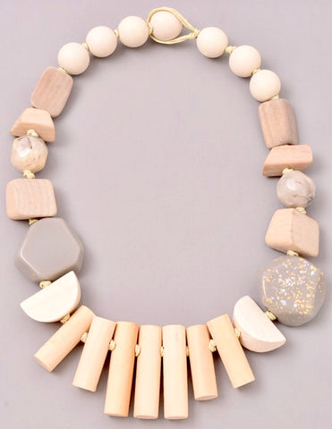 Grey and Natural Mixed Wood Geometric Necklace with Rope Closure