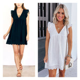 White or Black Eyelet Flutter Sleeve ROMPER DRESS with Keyhole Back & Pockets