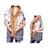 Black & White Aztec Vest with Faux Fur Collar