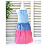 Red White & Blue Gingham Tiered Ruffle Hem Halter Dress with Keyhole Back
