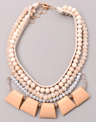 Blush Pink and Blue Mixed Multi Strand Necklace with Geometric Medallions
