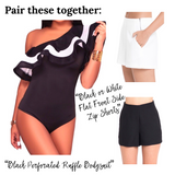 Black or White Side Zip Flat Front Dressy Shorts