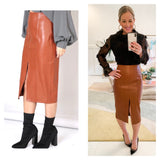 Caramel PU Leather High Waisted Pencil Midi Skirt with Front Slit