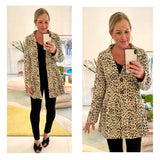 Cream Black & Yellow Leopard Button Down Pleated Hem Peplum Jacket with Gold Satin Lining