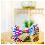 Pink & Blue Ikat Print Headband with Gold & Coral  Beading