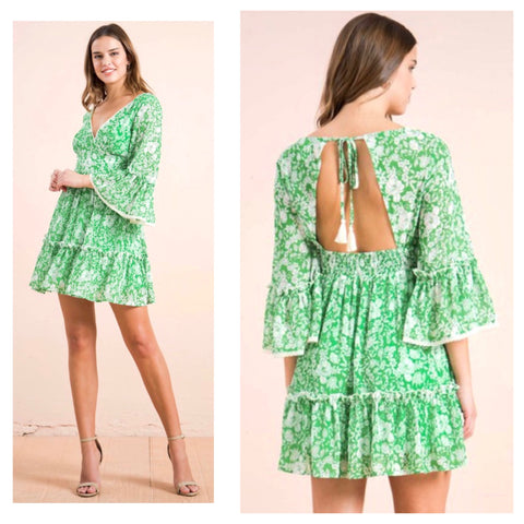 Green Floral Print Bell Sleeve Open Tie Back Dress with Rear Smocked Waist & Ruffle Hem