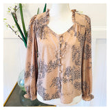 Taupe & Gold Shimmer Leopard Button Down Ruffle Sleeve Blouse with Ruffled Sweetheart Neckline