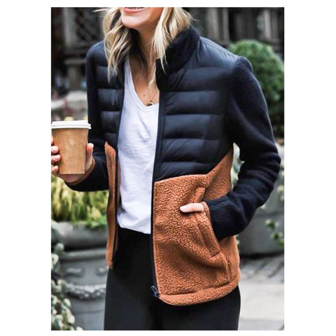 Black Puffer Jacket with Brown Sherpa Contrast