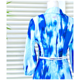 Grecian Blue & White Tye Dye Button Down Maxi Dress with 3/4 Length Puff Sleeves & Optional Belt