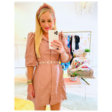 Blush PU Leather Puff Sleeve Button Down Dress with Banded Waist