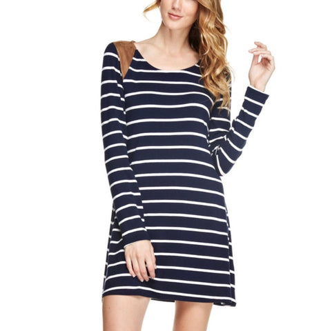 Black White Stripe Long Sleeve Dress with Faux Suede Shoulder Accents