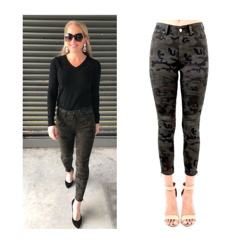 Dark Camo High Rise Skinny Moto Ankle Zip Jeans