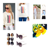 "Ivory Knit ""OUI!"" Sweater with Navy & Yellow Banded Sleeve Contrast"