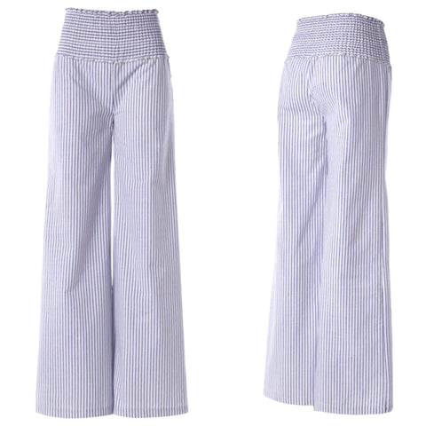 Blue White Stripe Smocked Elastic Waist Semi High Rise Palazzo Pants