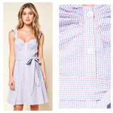 Pink & Blue Seeesucker Gingham Flutter Sleeve Dress with Bustier Bodice & Front Pleat