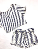 Black White Stripe Ruffle Hem Shorts (Matching Top Sold Separately)