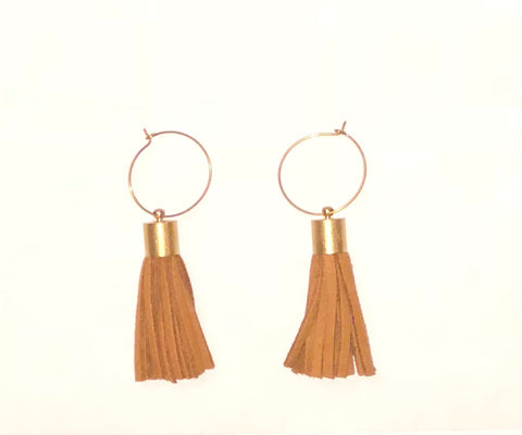 Brown Tassel Hoop Earrings