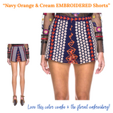Navy White & Orange EMBROIDERED Shorts