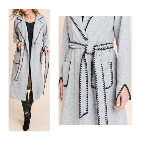 Grey Soft Knit Belted Duster Jacket with Black Embroidery Detail, V-Cut Sleeve Hem & Front Pockets