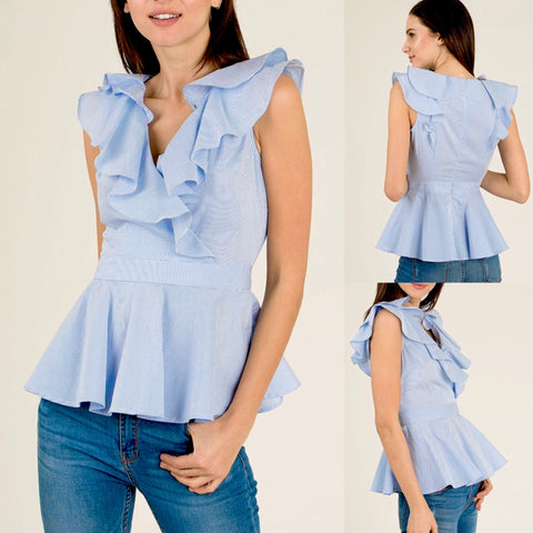 Blue White Pinstripe Sleeveless Peplum Top with Ruffle Front