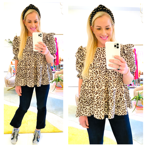 Brown Leopard Print Smocked Flutter Sleeve Top with BOW BACK