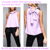 Lavender Ruffle Neck Sleeveless Swing Top with Bow Back