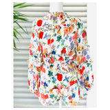 White Floral Drawstring Flowy Shorts with Pockets