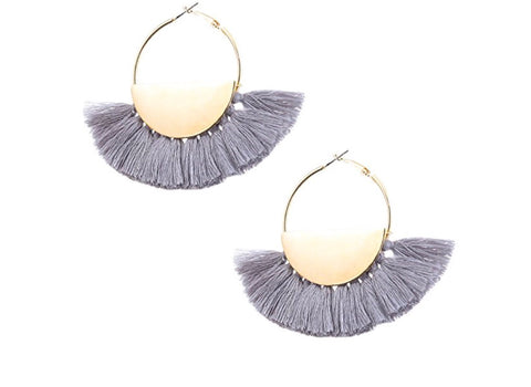 Fringe Earrings, Heather Grey
