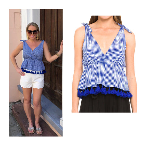 Royal Blue Gingham Ruffle Waist Peplum Top with Shoulder Ties & Tassel Hem