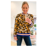 Black Orange & Taupe Leopard Print Knit Sweater with PINK & ROYAL BLUE Banded Contrast Hem