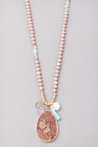Pink Talen Mixed Stone Medallion Necklace with Turquoise Tassel Charm