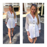 White Eyelet Button Down Shirtdress with Tie Waist