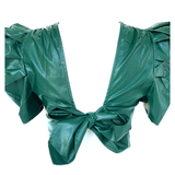 Emerald Green Leather Pleated Midi Skirt & Bow Back Puff Sleeve Top SET