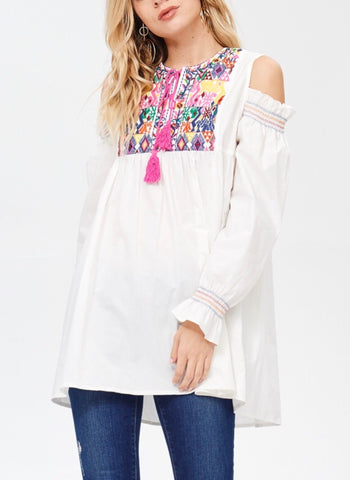 White Cold Shoulder Embroidered Tunic Top with Pink Tassels