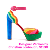 Rainbow Wave Suede Designer Inspired Block Heels