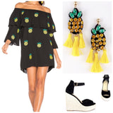 Black Off the Shoulder Pineapple Dress