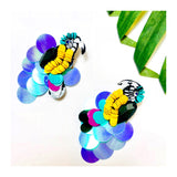 Black Jewel & Multicolor Sequin Stacked Disc PARROT  Earrings