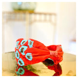 Red Turquoise & Gold Beaded Headband