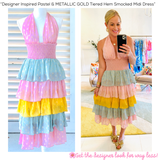 Designer Inspired Pastel & METALLIC GOLD Tiered Hem Smocked Midi Dress