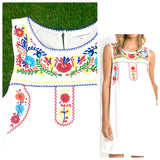 White Sleeveless Dress with Embroidered Yoke & Pockets