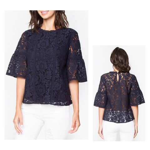 Navy Flute Sleeve Lace Top with Peekaboo Back & Keyhole Closure