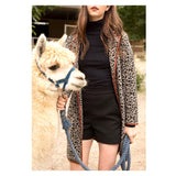 Camel & Black Leopard Heavy Knit Cardigan Jacket with Cognac Leather Piping