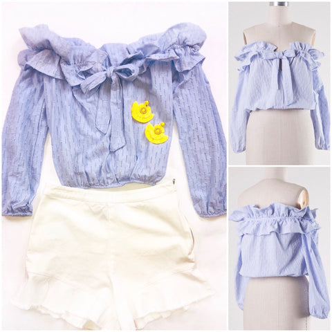 Lightest Lavender Off the Shoulder Ruffle Hem Top with Bow Front & Elastic Waist