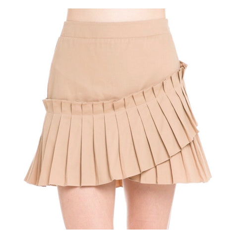 Tan Accordion Pleated Skirt
