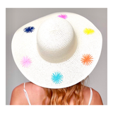 White Paper Straw EMBROIDERED Starburst Sun Hat
