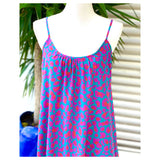 Teal & Fuchsia Spots Spaghetti Strap Silky Sheath Dress