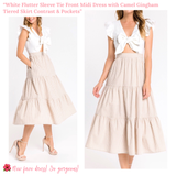 White Flutter Sleeve Tie Front Midi Dress with Camel Gingham Tiered Skirt Contrast & Pockets
