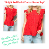 Bright Red Flutter Sleeve Eyelet Top with Keyhole Back