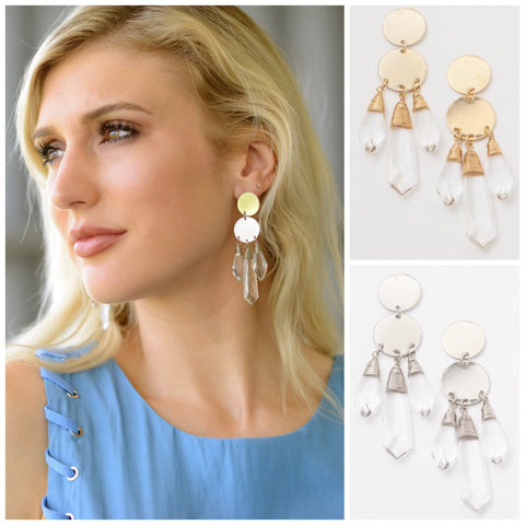 Silver OR Gold Baltic Crystal Drop Earrings