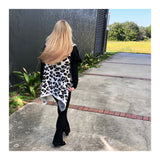 Ivory Fuzzy Knit Leopard Open Front High Low Shawl Vest